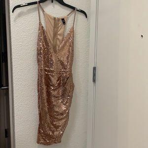 Rose gold pink sequin dress